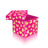 Pink open gift box with gold hearts Stock Image