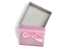 Pink open gift box with white background royalty free stock photography