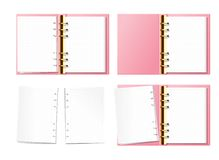 Free Pink Open Notebook Mock Up, Bullet Journal, Planner, Diary With Gold Furniture Top View. Paper With Dot Texture. Opened Royalty Free Stock Image - 163834096