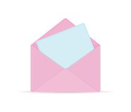 Pink Opened Envelope with Blue Paper Sheet Royalty Free Stock Photo