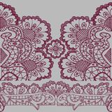 Pink openwork on a gray background. Seamless pattern. stock illustration