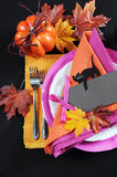 Pink, orange and black modern Happy Halloween table place setting - vertical. Royalty Free Stock Photos