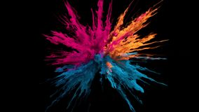 Pink orange blue Color Burst smoke powder explosion fluid ink particles alpha stock footage