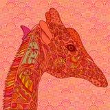 Pink-orange decorative giraffe. Royalty Free Stock Photo