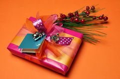 Pink and orange festive present gifts Royalty Free Stock Image