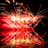 Pink and Orange Fireworks Royalty Free Stock Photos