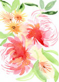 Pink and orange floral illustration Stock Photo