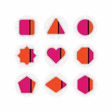 Pink and orange geometrical stripe icons set vector illustration