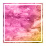 Pink and orange hand drawn watercolor rectangular frame background texture with stains. Modern design element royalty free stock image