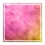 Pink and orange hand drawn watercolor rectangular frame background texture with stains. Modern design element royalty free stock photo