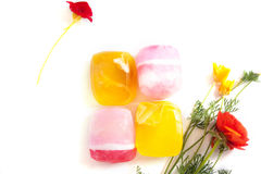 Pink and orange handmade soaps Stock Photo