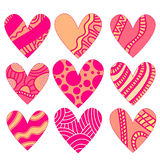 Pink and orange heart collection Stock Photo