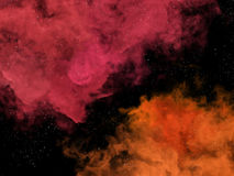 Pink and orange nebulas and stars in cosmos Stock Photos