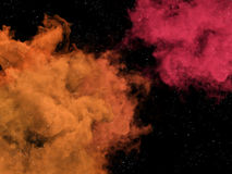 Pink and orange nebulas and stars in space Stock Photos