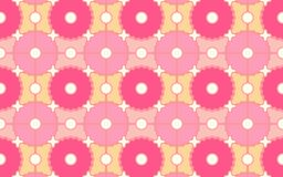 Pink and orange seamless pattern of circles and gears. Bright pink and light orange repeating pattern of circles and gears for textile, fabric, wallpaper Stock Image