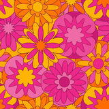 Pink-orange seamless pattern with flowers Royalty Free Stock Photos