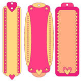 Pink and orange tag or label collection Royalty Free Stock Photos