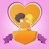 Cute cartoon kids in love Stock Images