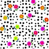 Pink orange yellow flowers and black dots on white vector illustration