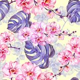 Pink orchid flowers with outlines and large purple monstera leaves on light yellow background. Seamless pattern. Watercolor painting. Hand drawn illustration royalty free illustration