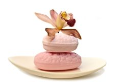 Pink orchid with luxury soap and bath fizz Royalty Free Stock Photo