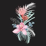 Pink orchid, protea, herbs, succulent, palm leaves and greenery bouquet. stock illustration