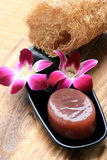 Pink Orchid With Soap. Of Spa Aromatheraphy Stock Image