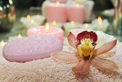 Pink orchid with soap and towel Stock Photos