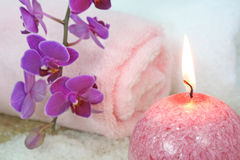 Pink orchid spa Royalty Free Stock Images