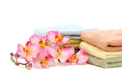 Pink orchid and spa towels Stock Images