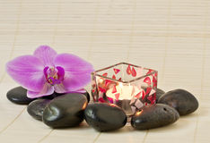 Pink orchid and zen Stones Stock Images