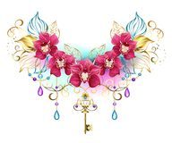 Pink orchids with beads and gold key. Symmetrical composition of exotic pink orchids with golden leaves and gold chains, decorated with purple and turquoise Stock Images