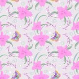 Pink orchids and butterfly seamless pattern background. vector illustration