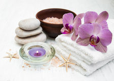 Pink orchids and salt Royalty Free Stock Photos