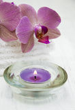 Pink orchids and towels royalty free stock photo