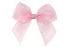 Pink organza ribbon bow Royalty Free Stock Photos