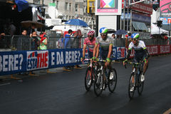 Pink orica. Micheal matthews leader of the race (pink tshirt) at the 4th stage of the giro ditalia at bari in italy.13/5/2014 Royalty Free Stock Photo