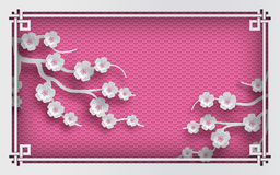 Pink oriental pattern background with sakura flowers and frame Stock Photography