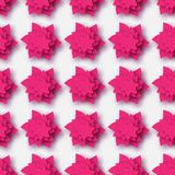 Pink Origami Floral seamless pattern on grey background. Paper cut flowers with leaves. Trendy Design Template Vector illustration Royalty Free Stock Image
