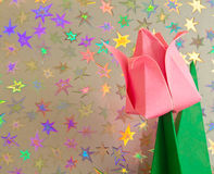 Pink Origami Flower Stock Photography