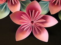 Pink origami flowers Stock Photography