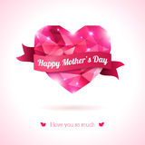 Pink origami heart on white backdrop with ribbon. Royalty Free Stock Images