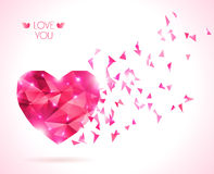 Pink origami heart on white backdrop with shadow. Stock Photos