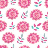Pink and ornage flower and leaf vector repeat. Seamless pattern background. Perfect use for fabric, wallpaper, scrapbooking, giftwrap, packaging and on many royalty free illustration