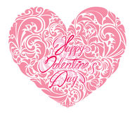 Pink ornamental floral heart with calligraphic text Royalty Free Stock Photos
