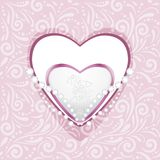 Pink ornamental pattern with hearts and diamonds for scrapbook royalty free stock image