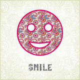 Pink ornamental pattern smile face silhouette Royalty Free Stock Photo