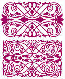 Pink ornate illustrations. A set of two pink ornate illustrations isolated on white Royalty Free Stock Images