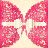 Pink ornate lace vector greeting card template Stock Photo