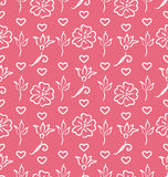Pink Ornate Seamless Wallpaper for Valentines Day Stock Image